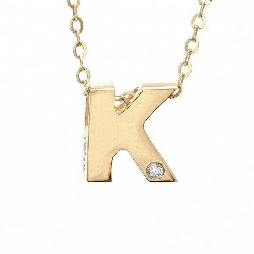"14K Yellow Gold Initial ""K"" With Diamond Necklace"