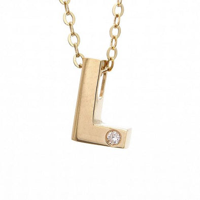 "14K Yellow Gold Initial ""L"" With Diamond Necklace"