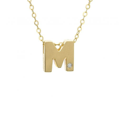"14K Yellow Gold Initial ""M"" With Diamond Necklace"