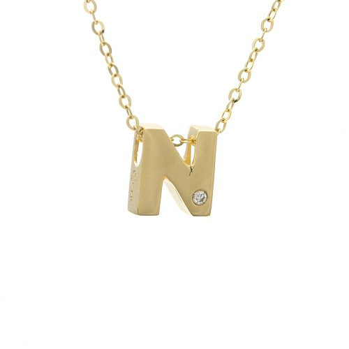 "14K Yellow Gold Initial ""N"" With Diamond Necklace"