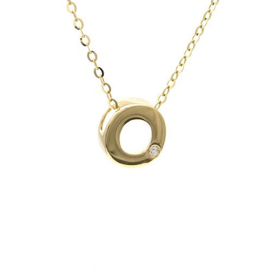 "14K Yellow Gold Initial ""O"" With Diamond Necklace"
