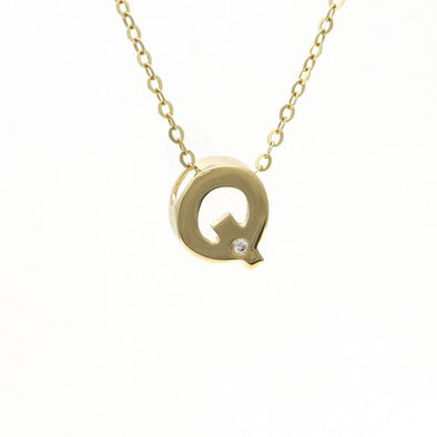 "14K Yellow Gold Initial ""Q"" With Diamond Necklace"