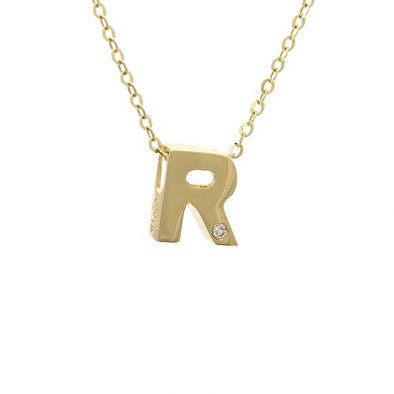 "14K Yellow Gold Initial ""R"" With Diamond Necklace"