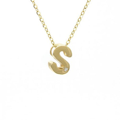 "14K Yellow Gold Initial ""S"" With Diamond Necklace"