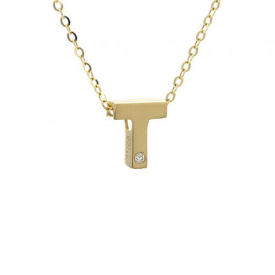 "14K Yellow Gold Initial ""T"" With Diamond Necklace"