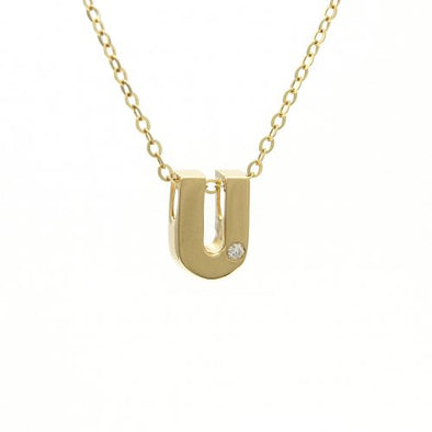 "14K Yellow Gold Initial ""U"" With Diamond Necklace"