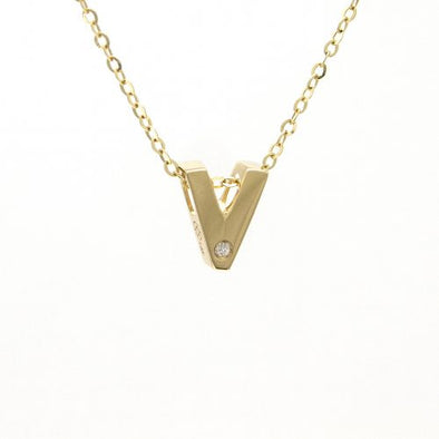 "14K Yellow Gold Initial ""V"" With Diamond Necklace"