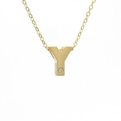 "14K Yellow Gold Initial ""Y"" With Diamond Necklace"