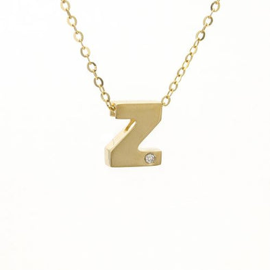"14K Yellow Gold Initial ""Z"" With Diamond Necklace"