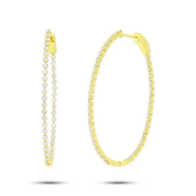 Yellow Gold 14K Inside & Outside Diamond Oval Hoop Earrings