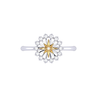 Two-Tone Starburst Ring in 14 KT Yellow Gold Vermeil on Sterling Silver