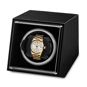 Luxury Giftware Black Finish Wood Acrylic Window Single Watch Winder