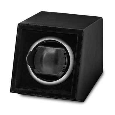 Luxury Giftware Black Faux Leather Acrylic Window Single Watch Winder