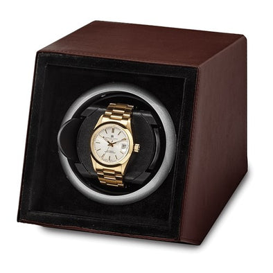 Luxury Giftware Brown Faux Leather Acrylic Window Single Watch Winder