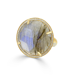 Labradorite Diamond Round Cocktail Ring