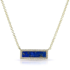 14K Yellow Gold Lapis Rectangle Necklace