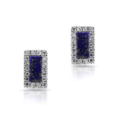 Lapis Rectangle Stud Earrings