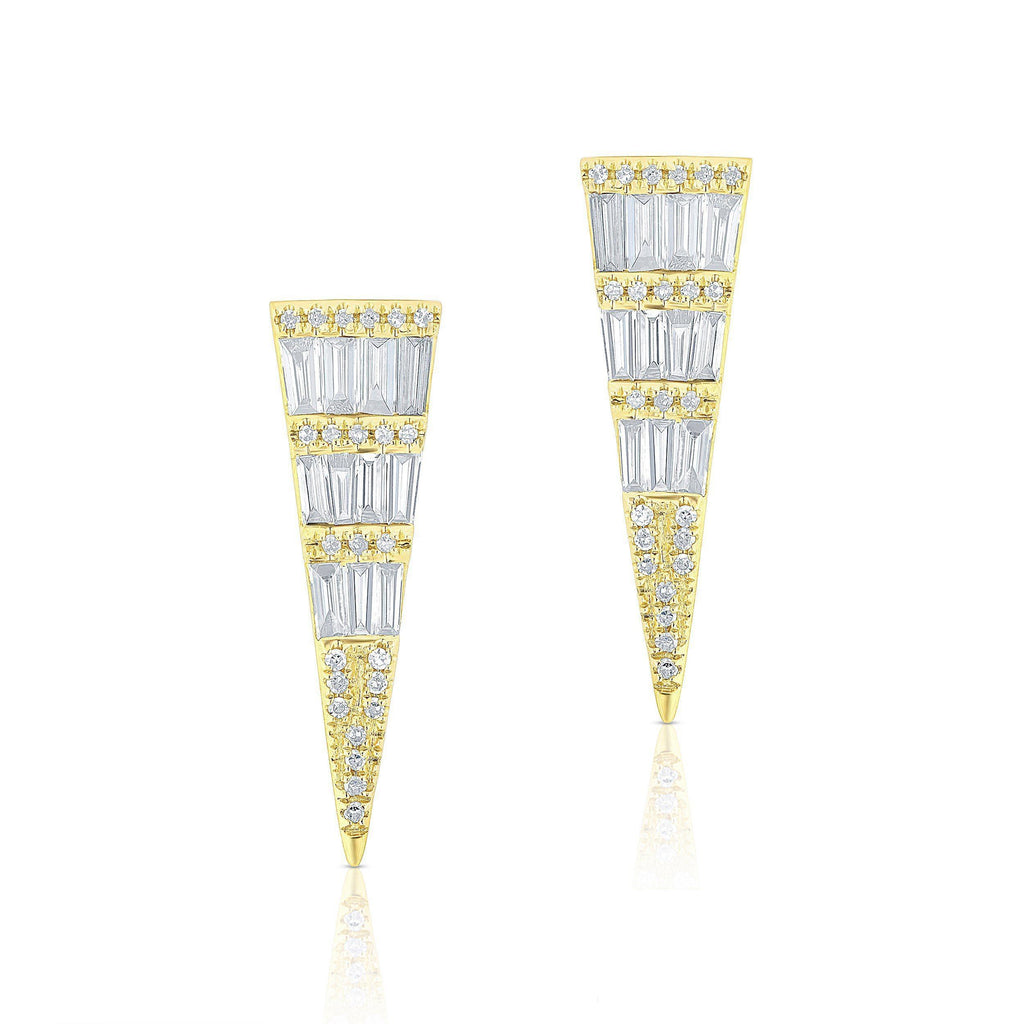 Large Baguette Diamond Dagger Earrings