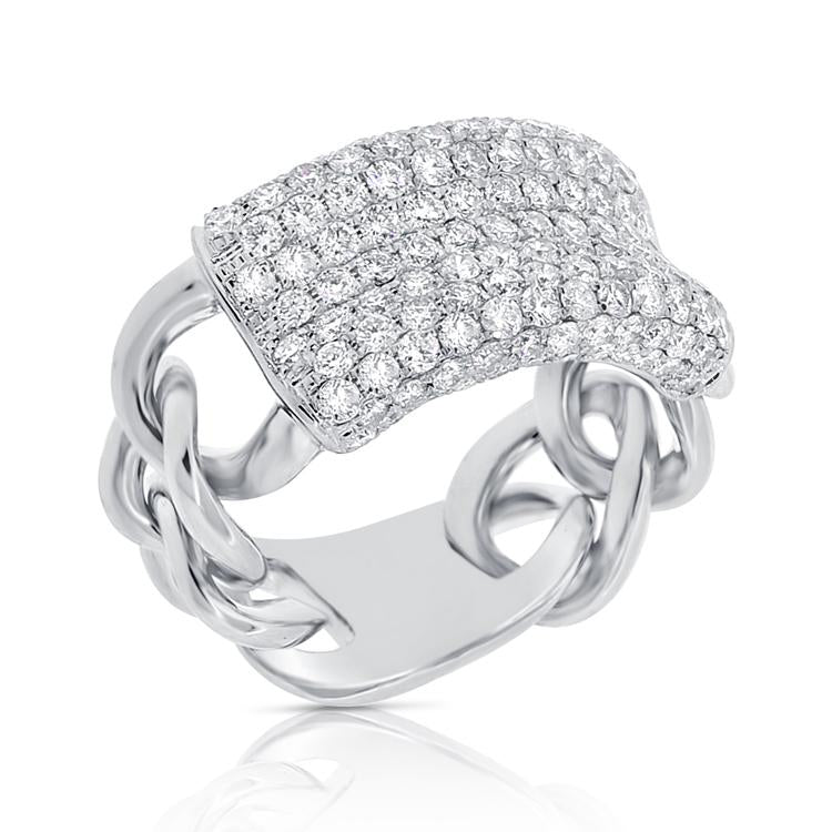 Large Diamond Pave Link Ring