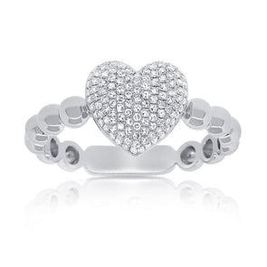Large Pave Diamond Heart Beaded Ring