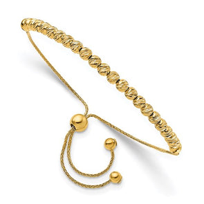 14K Polished Diamond Cut Beaded Bolo Adjustable Bracelet