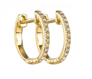 14K Yellow Gold Micro Diamond Huggie Earrings