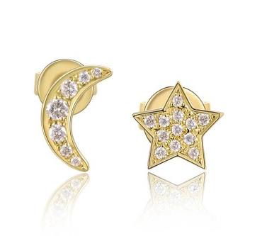 Yellow Gold 14K Diamond Moon + Stars Stud Earrings