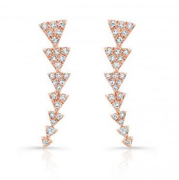 Rose Gold 14K Diamond Triangle Ear Climbers
