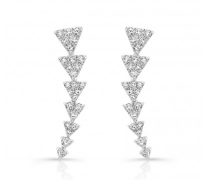 White Gold 14K Diamond Triangle Ear Climbers