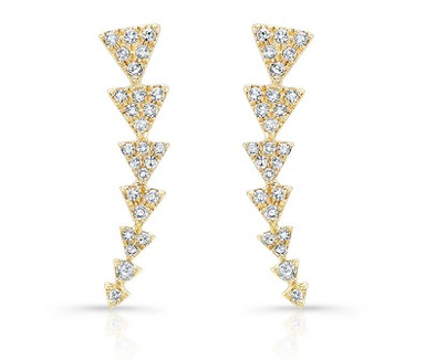 Yellow Gold 14K Diamond Triangle Ear Climbers