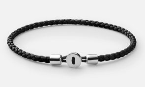 Nexus Leather Bracelet, Sterling Silver