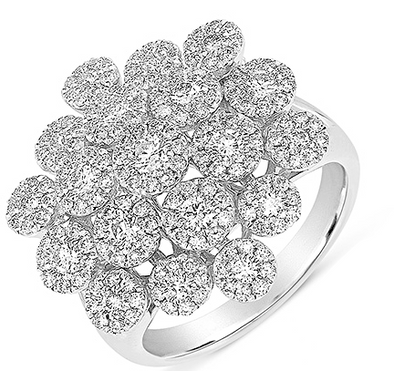 14K White Gold Diamond Cluster Flower Ring