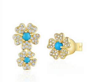 Mini Turquoise Flower Stud Earrings