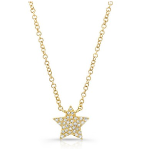 Yellow Gold 14K Pave Diamond Star Necklace