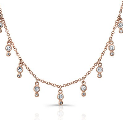Rose Gold 14K Diamond Bezel Fringe Necklace