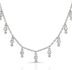 14K White Gold Diamond Bezel Fringe Necklace