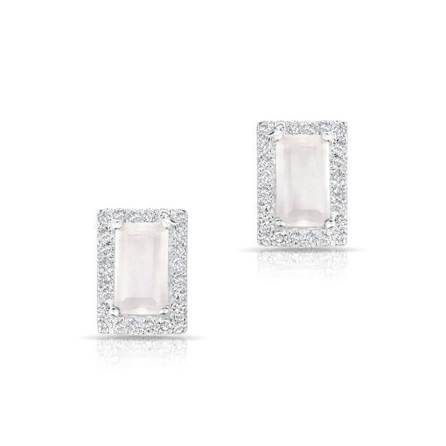 Moonstone Diamond Mini Rectangle Stud Earrings