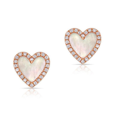Mother of Pearl Heart Stud Earrings