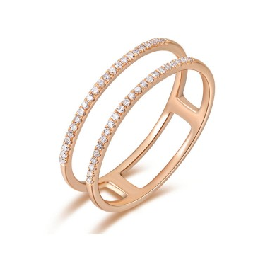 14K Rose Gold Double Open Row Diamond Band