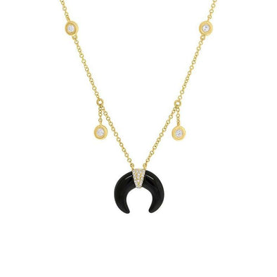 Onyx Crescent Shaker Necklace
