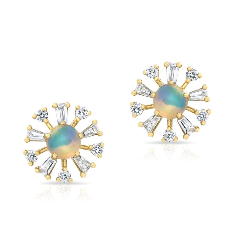 Opal Baguette Diamond Halo Stud Earrings