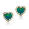 Opal Diamond Heart Stud Earrings