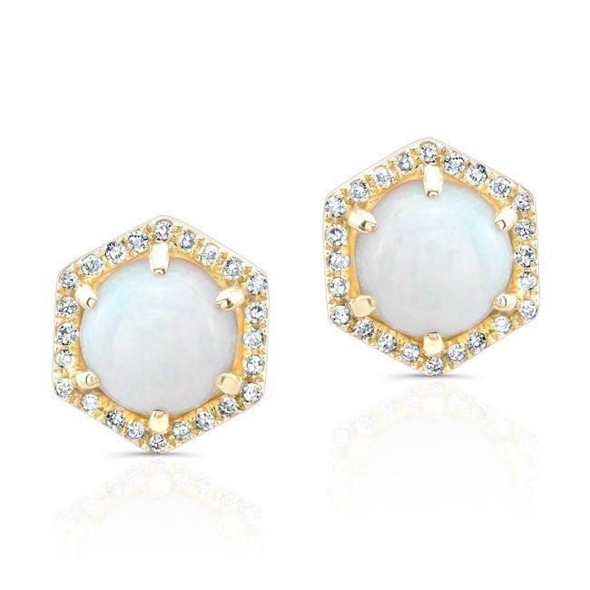 Opal Hexagon Stud Earrings