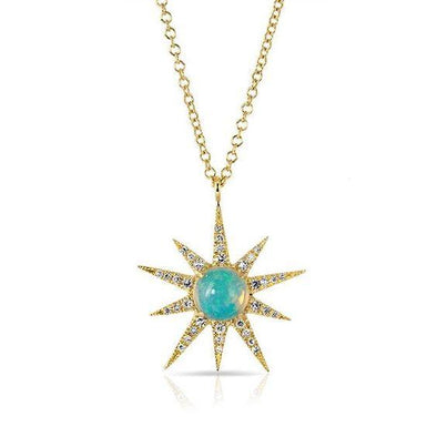 14K Yellow Gold Opal Sunburst Pendant