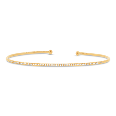 14K Yellow Gold Open Stackable Diamond Bangle