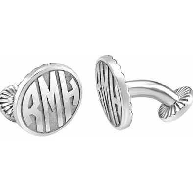 Sterling Silver 3-Letter Block Monogram Oval Cuff Links