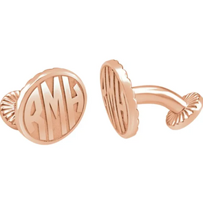 Rose Gold Plated Sterling Silver 3-Letter Block Monogram Oval Cuff Links