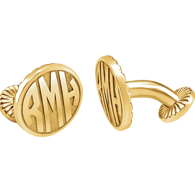 Yellow Gold Plated Sterling Silver 3-Letter Block Monogram Oval Cuff Links