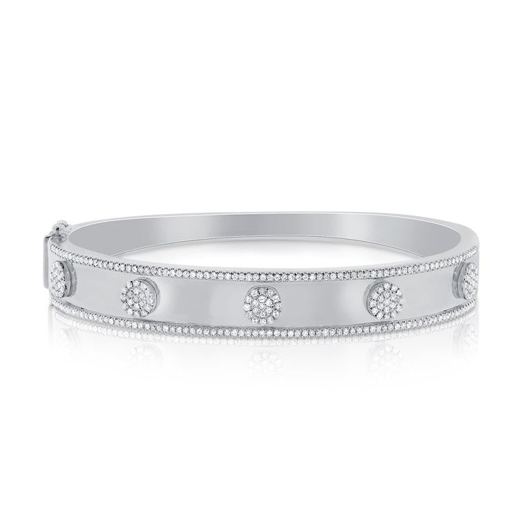 Pave Diamond 5 Station Disc Thick Bangle