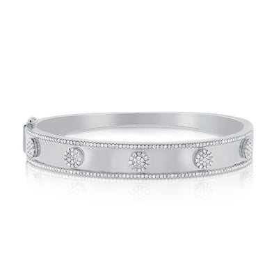 14K White Gold Pave Diamond 5 Station Disc Thick Bangle
